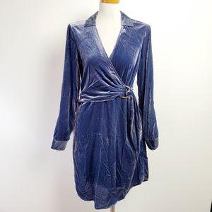 Maeve anthropologie medium blue velvet dress